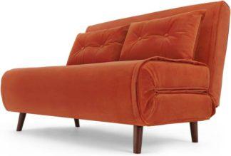 An Image of Haru Small Sofa bed, Flame Orange Velvet