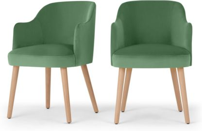 An Image of Set of 2 Swinton Carver Dining Chairs, Lounge Green Velvet & Oak Stain