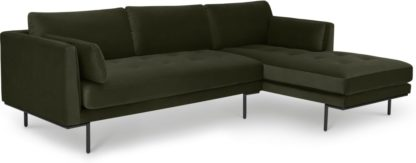 An Image of Harlow Right Hand Facing Chaise End Sofa, Dark Olive Velvet