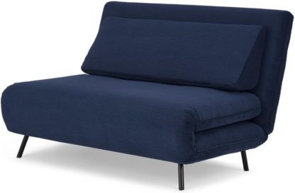 An Image of Kahlo Double Sofa Bed, Navy Corduroy Velvet