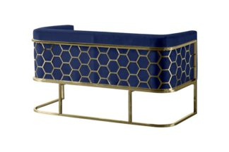 An Image of Alveare Two Seat Sofa - Brass - Blue