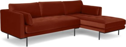 An Image of Harlow Right Hand Facing Chaise End Sofa, Brick Red Velvet