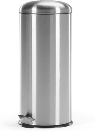 An Image of Joss 30L Domed Pedal Bin, Silver
