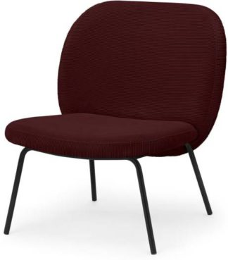 An Image of Safia Accent Chair, Rosewood Corduroy Velvet with Black Legs