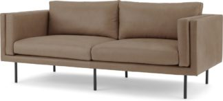 An Image of Savio Large 2 Seater Sofa, Chalk Mink Leather
