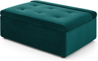 An Image of Ilma Ottoman Single Sofa Bed, Seafoam Blue Velvet