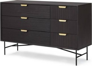 An Image of Haines Wide Chest of Drawers, Charcoal Black Mango Wood & Brass