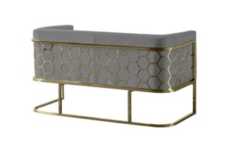 An Image of Alveare Two Seat Sofa - Brass - Dove Grey