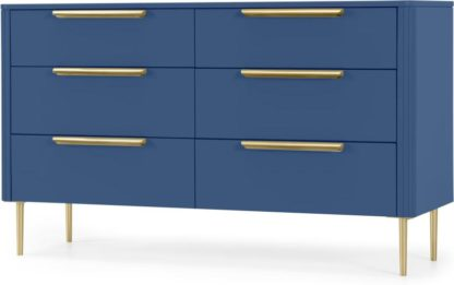An Image of Ebro Wide Chest of Drawers, Blue