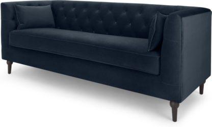 An Image of Flynn 3 Seater Sofa, Sapphire Blue Velvet