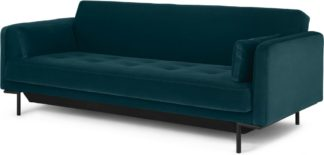 An Image of Harlow Sofa Bed with Storage, Steel Blue Velvet