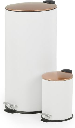 An Image of Cross Flat Top 27L & 3L Pedal Bin, White & Copper