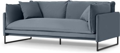 An Image of Malini 3 Seater Sofa, Jeans Blue Cotton & Linen Mix