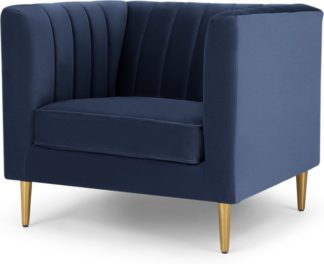 An Image of Amicie Armchair, Royal Blue Velvet