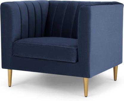 An Image of Amicie Armchair, Royal Blue Velvet