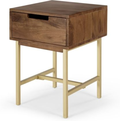 An Image of Tayma Bedside Table, Acacia Wood & Brass