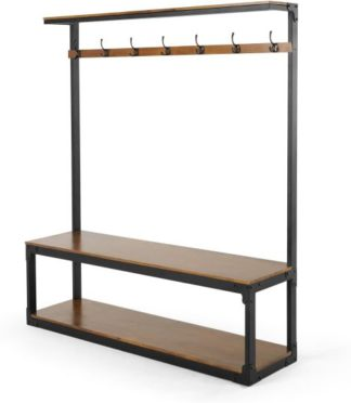 An Image of Layne Extra Large Hall Stand, Mango Wood and Black Metal