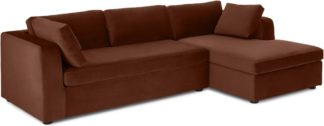 An Image of Mogen Right Hand Facing Chiase End Sofa Bed, Warm Caramel Velvet