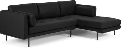 An Image of Harlow Right Hand Facing Chaise End Sofa, Denver Black Leather
