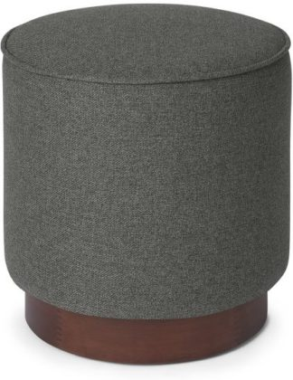 An Image of Hetherington Small Wooden Pouffe, Coventry Grey & Dark Stain Wood