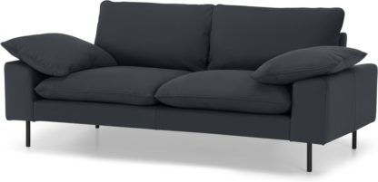 An Image of Fallyn Large 2 Seater Sofa, Nubuck Carbon Leather
