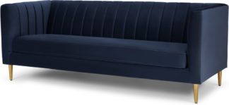 An Image of Amicie 3 Seater Sofa, Royal Blue Velvet