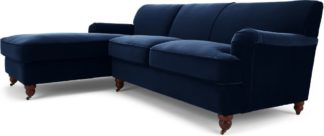 An Image of Orson Left Hand Facing Chaise End Corner Sofa, Ink Blue Velvet