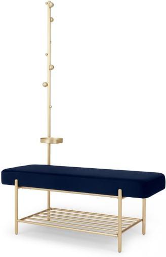 An Image of Asare Hallway Storage Bench, Royal Blue Velvet & Brass