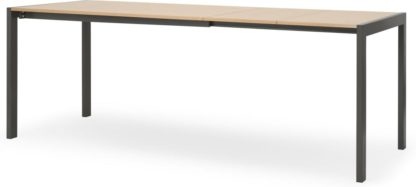 An Image of MADE Essentials Swift 4-8 Seat Dining Table, Oak & Grey
