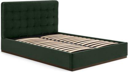 An Image of Lavelle Double Ottoman Bed, Laurel Green Velvet & Walnut Stain Plinth