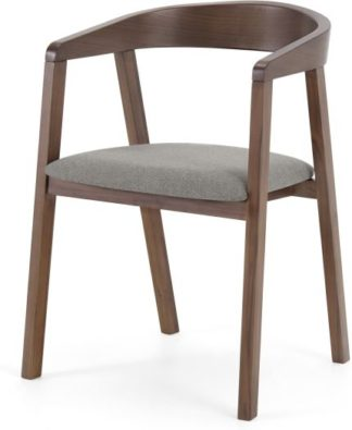 An Image of Placido Carver Dining Chair, Walnut & Cool Grey
