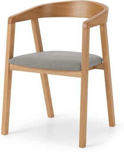 An Image of Placido Carver Dining Chair, Oak & Cool Grey