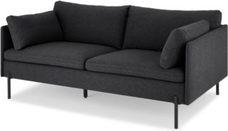 An Image of Zarina Large 2 Seater Sofa, Sterling Grey with Black Leg