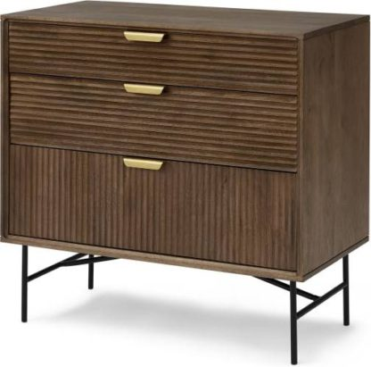 An Image of Haines Chest of Drawers, Mango Wood & Brass