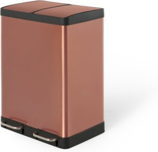 An Image of Colter 60L, Soft Close Double Recycling Pedal Bin X2 30L, Copper