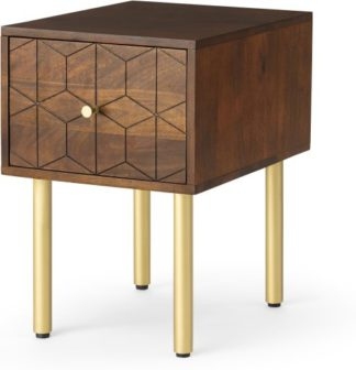 An Image of Hedra Bedside Table, Mango Wood & Brass