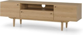 An Image of MADE Essentials Asger Wide TV Stand, Oak Effect