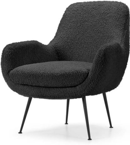 An Image of Moby Accent Armchair, Grey Faux Sheepskin