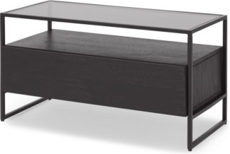 An Image of Kilby Compact TV Stand, Black Stained Mango Wood and Smoked Glass