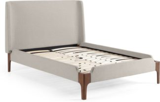 An Image of Roscoe King Size Bed, Salcombe Beige & Dark Stain Oak Legs