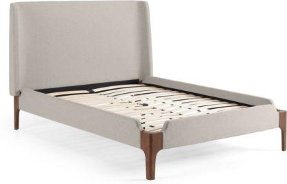 An Image of Roscoe Double Bed, Salcombe Beige & Dark Stain Oak Legs