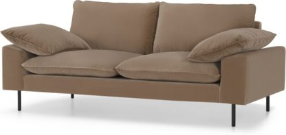 An Image of Fallyn Large 2 Seater Sofa, Mink Cotton Velvet