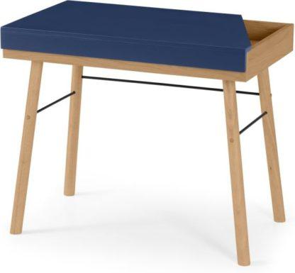 An Image of Brennan Lift-Top Desk, Oak and Blue
