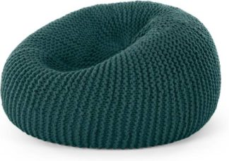 An Image of Aki Wool Cocoon Bean Pouffe, Teal Green