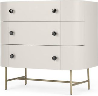 An Image of Tandy Chest Of Drawers, Light Grey with Gloss Black Handles & Brass Legs