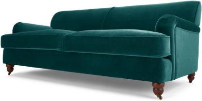 An Image of Orson 3 Seater Sofa, Seafoam Blue Velvet