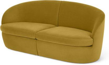 An Image of Reisa 2 Seater Sofa, Vintage Gold Velvet
