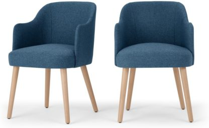 An Image of Set of 2 Swinton Carver Dining Chairs, Tonic Blue & Oak Stain
