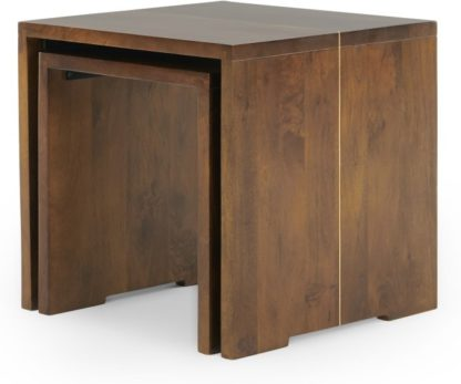 An Image of Anderson Set of 2 Nesting Tables, Mango Wood and Brass