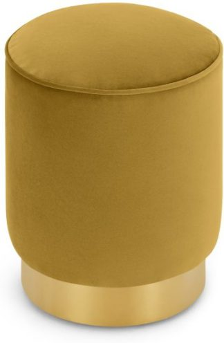 An Image of Hetherington Small Brass Base Pouffe, Vintage Gold Velvet